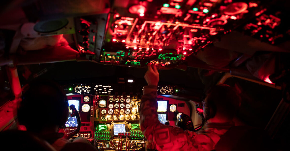 The US Air Force prepares a KC-135 Stratotanker for a flight supporting a Black Sea mission at RAF Mildenhall, United Kingdom, January 14, 2021