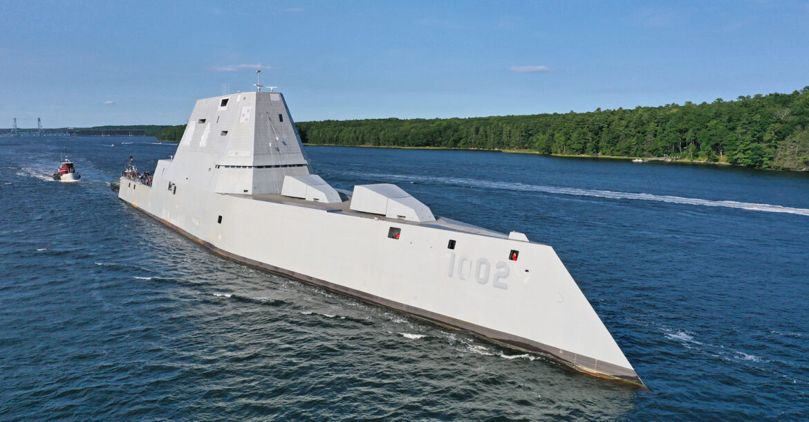 The DDG 1002 heading out to trials. Photo: Bath Iron Works