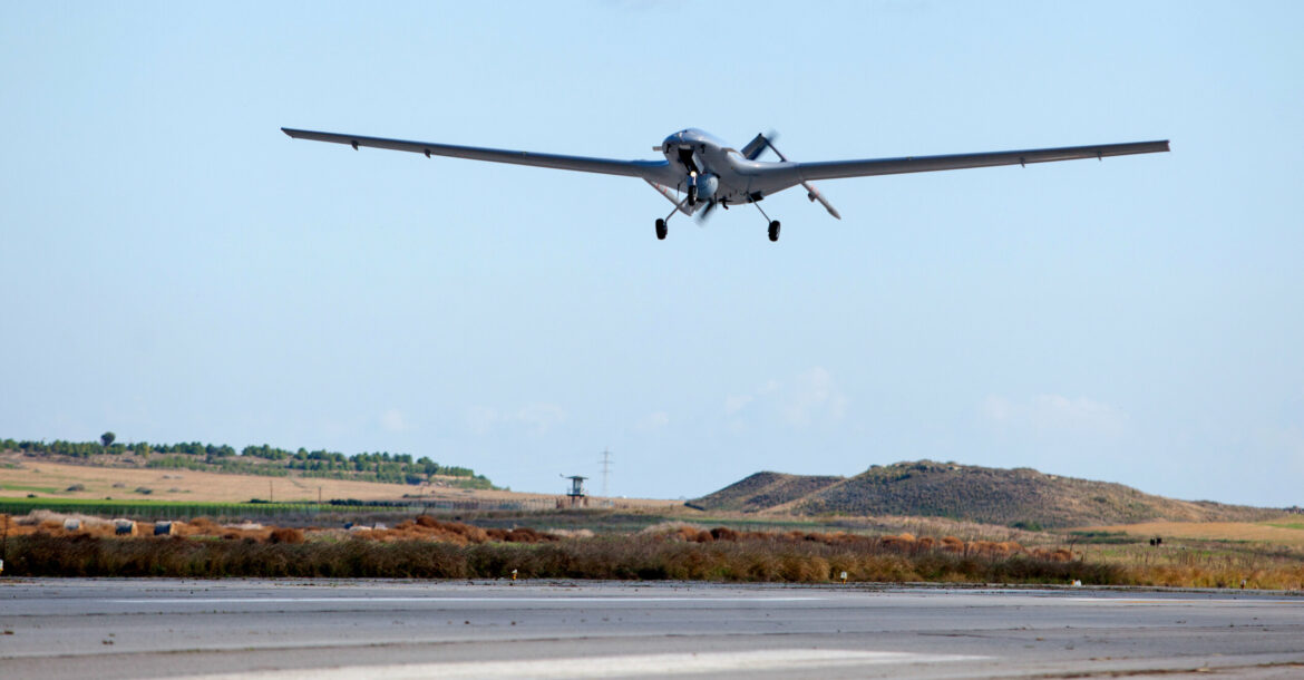 The Bayraktar TB2 drone is pictured flying on December 16, 2019 at Gecitkale Airport in Famagusta in the self-proclaimed Turkish Republic of Northern Cyprus