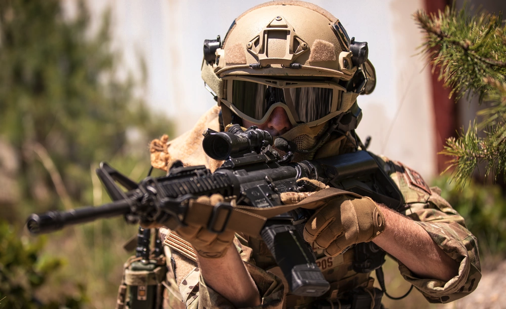 US Air Force Explosive Ordnance Disposal specialists with the New Jersey Air National Guard's 177th Fighter Wing conduct tactical training on Warren Grove Gunnery Range, N.J., June 12, 2020