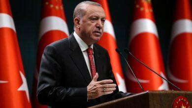 Turkish President Recep Tayyip Erdogan delivers a speech