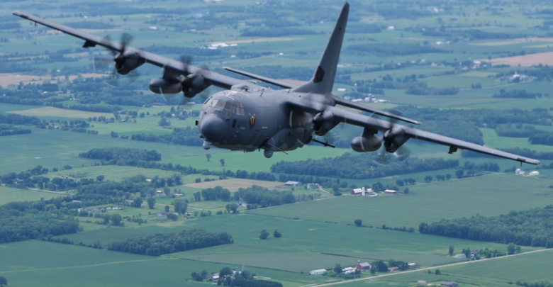 An AC-130J Ghostrider assigned to the 4th Special Operations Squadron, Hurlburt Field, Fla., soars over interior Wisconsin during EAA AirVenture Oshkosh 2021, July 30, 2021.