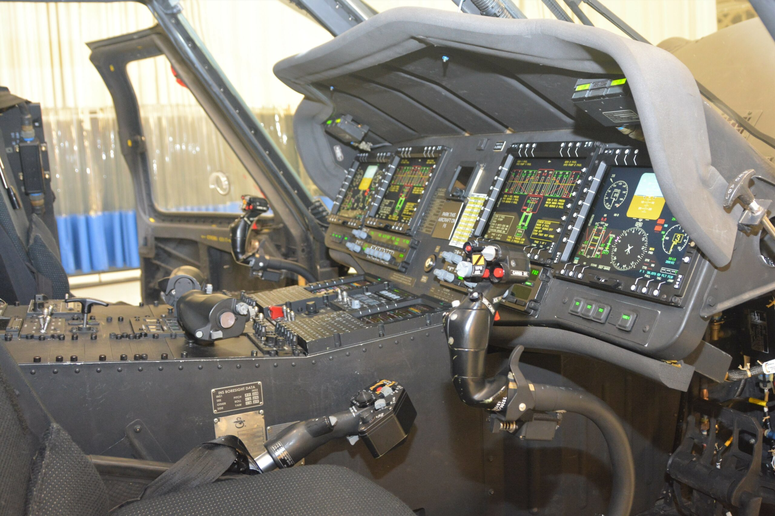 The interior of a UH-60V Black Hawk helicopter on display at the unveiling on October 6, 2021.