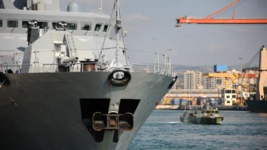 A Russian ship pictured at Russia's naval base in the Syrian Mediterranean port of Tartus