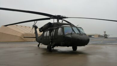 A UH-60V Black Hawk helicopter is parked on Muir Army Airfield for a ribbon-cutting ceremony for the new variant on October 6, 2021.
